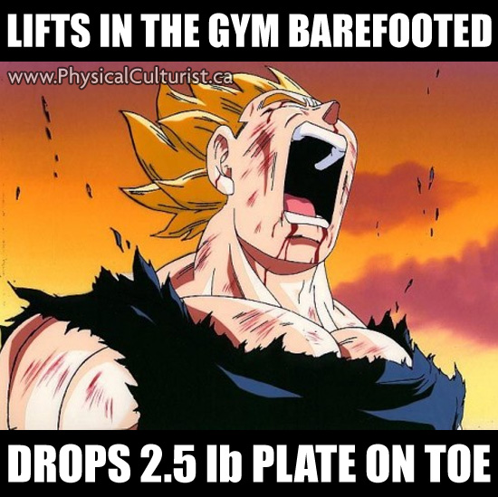 lifting in the gym in barefeet and dropping a plate on top of your foot