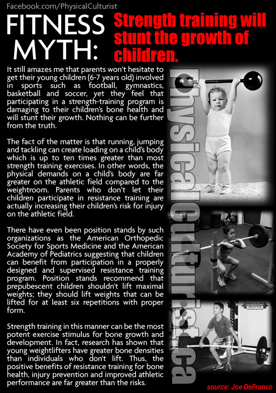 Strength Training Will Stunt the Growth of Children