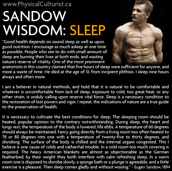 eugen sandow sleep advice
