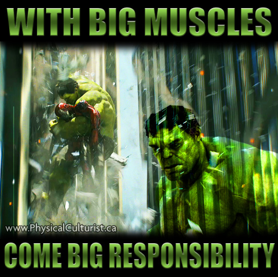 the hulk saving iron man because With Big Muscles Come Big Responsibility