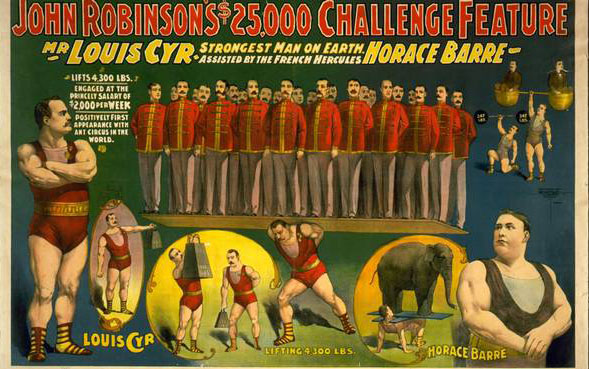 louis cyr strongest man in the world, circus poster
