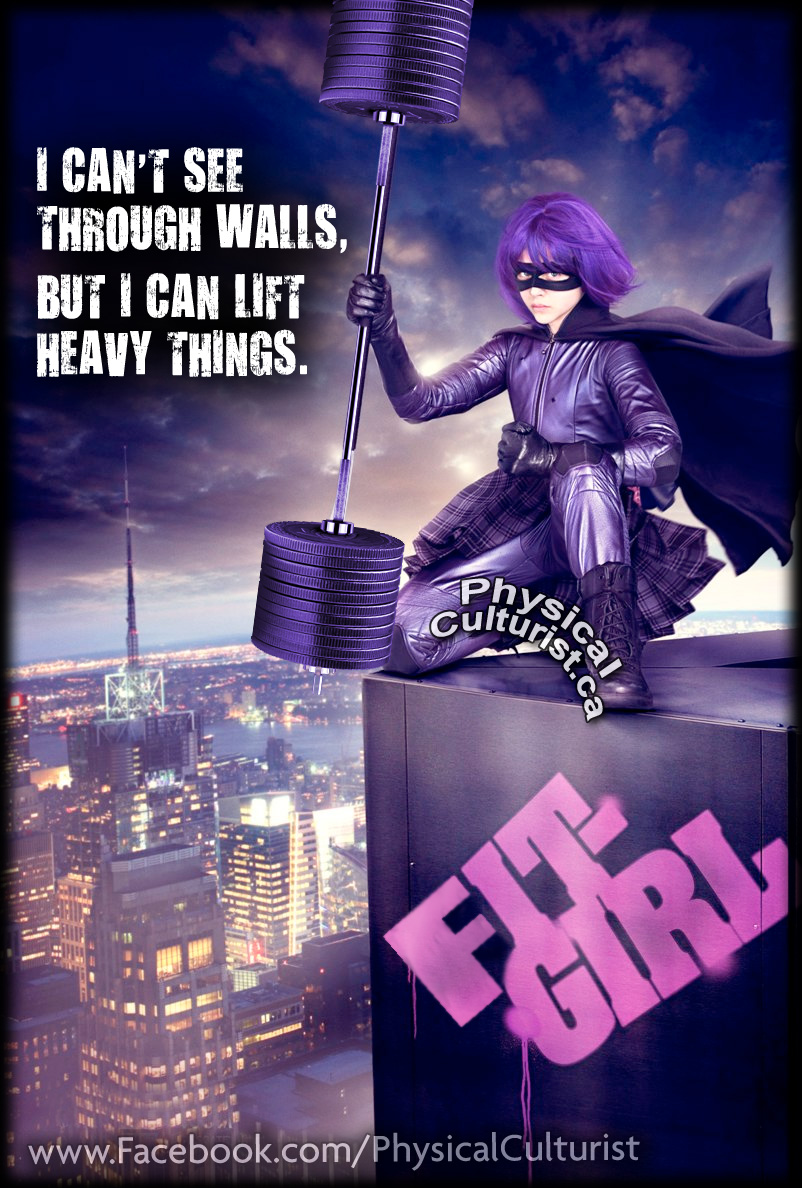 kick-ass, hit-girl fitness version, fit-girl movie comic parody