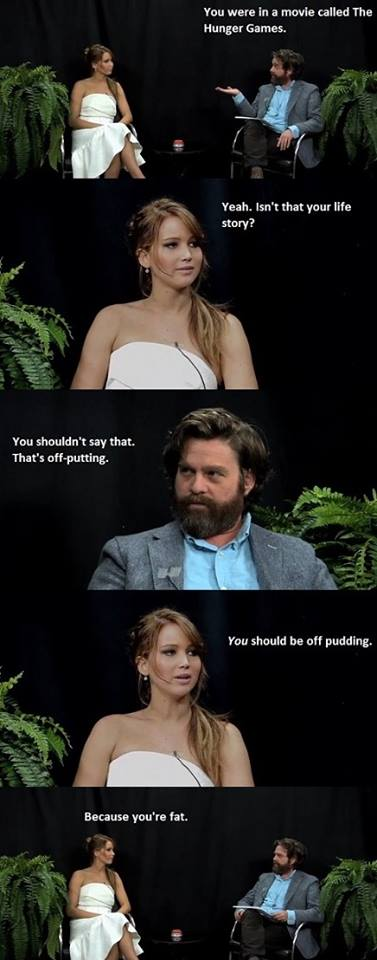 between two ferns jennifer lawrence zach galifianakis off putting off pudding