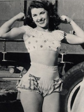 As hard to believe as it is these days, this woman was a muscle girl in the circus.