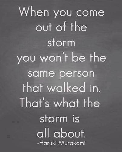 when you come out of the storm you won't be the same person that walked in. That's what the storm is all about - Haruki Murakami