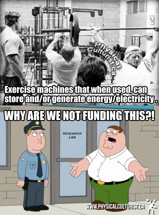 Why are we not funding this? - Exercise machines that store and/or generate power and electricity.