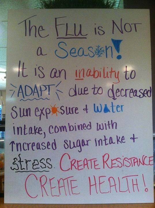 The flu is an inability to ADAPT due to decreased sun exposure, water intake combined with increased sugar intake and stress. Create Resistance. Create Health!