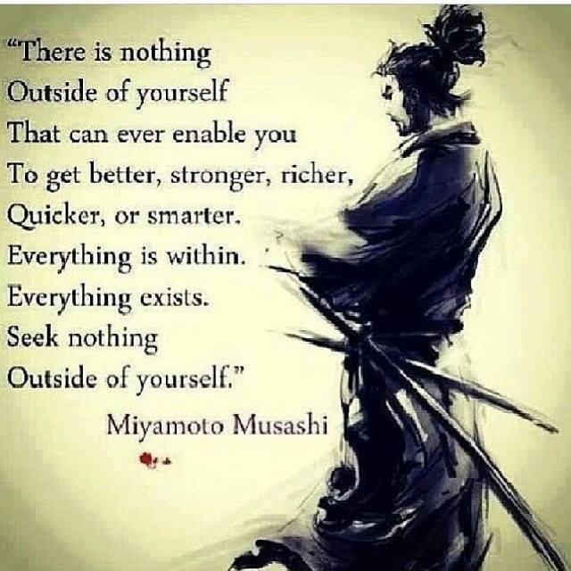 there is nothing outside of yourself that can ever enable you to get better, stronger, richer, quicker or smarter. Everything is within. Everything exists. Seek nothing outside or yourself - Miyamoto Musashi