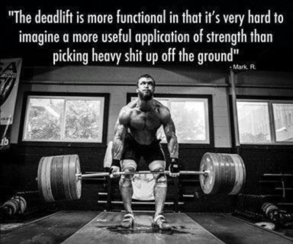 the deadlift is more functional in that it's very hard to imagine a more useful application of strength than picking heavy shit up off the ground
